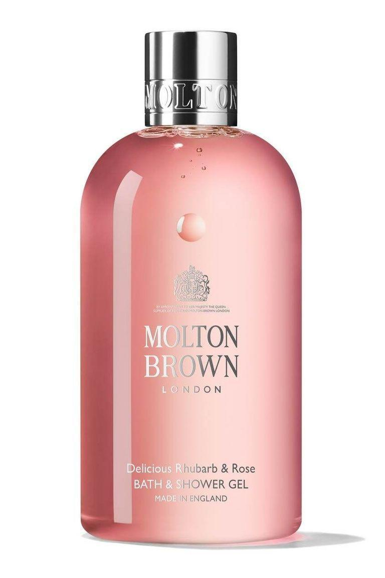 """<p><strong>Molton Brown</strong></p><p>bluemercury.com</p><p><strong>$32.00</strong></p><p><a href=""""https://go.redirectingat.com?id=74968X1596630&url=https%3A%2F%2Fbluemercury.com%2Fproducts%2Fmolton-brown-delicious-rhubarb-and-rose-bath-and-shower-gel&sref=https%3A%2F%2Fwww.townandcountrymag.com%2Fstyle%2Fbeauty-products%2Fg28567503%2Fqueen-elizabeth-favorite-beauty-products%2F"""" rel=""""nofollow noopener"""" target=""""_blank"""" data-ylk=""""slk:Shop Now"""" class=""""link rapid-noclick-resp"""">Shop Now</a></p><p>Yet another royal warrant-holder, Molton Brown has the privilege of supplying the Queen with """"toiletries."""" Again, no one's managed to discover the particular products the monarch enjoys, but based on her penchant for pink, we're theorizing that this body wash is a strong contender.</p>"""