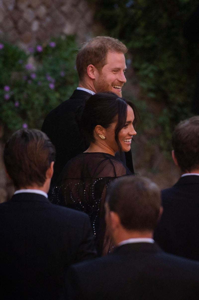 Harry and Meghan arrive for the wedding ceremony at Villa Aurelia (Rex Features)
