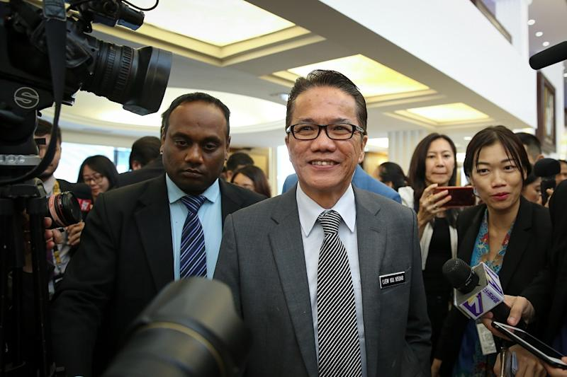 Minister in the Prime Minister's Department Datuk Liew Vui Keong speaks to reporters at the Parliament lobby in Kuala Lumpur July 4, 2019. — Picture by Yusof Mat Isa