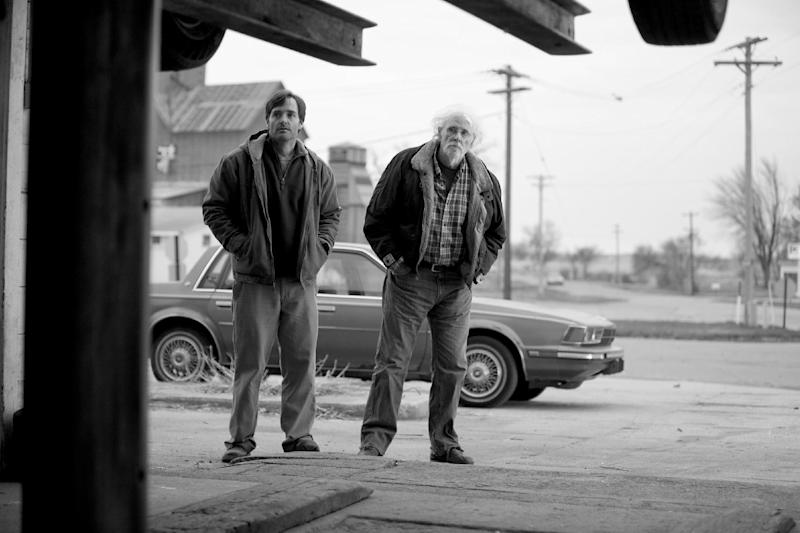 "This image released by Paramount Pictures shows Will Forte as David Grant, left, and Bruce Dern as Woody Grant in a scene from the film ""Nebraska,"" about a booze-addled father who makes to Nebraska with his estranged son in order to claim a million dollar Mega Sweepstakes Marketing prize. (AP Photo/Paramount Pictures, Merie W. Wallace)"