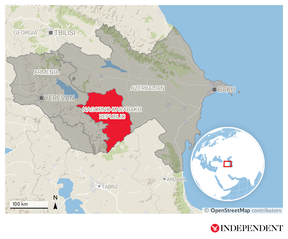 Armenia and Azerbaijan are fighting over the disputed region of Nagorno-KarabakhThe Independent