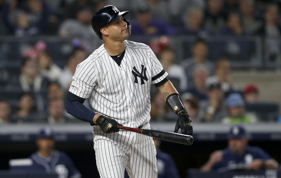 NEW YORK, NEW YORK - MAY 28:   Gary Sanchez #24 of the New York Yankees in action against the San Diego Padres at Yankee Stadium on May 28, 2019 in New York City.  The Padres defeated the Yankees 5-4. (Photo by Jim McIsaac/Getty Images)