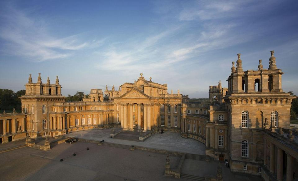"""<p>To end this list with a bang, look no further than Blenheim Palace, the former home of Consuelo Vanderbilt and her husband, the ninth Duke of Marlborough. It was the $2.5 million dowry of Consuelo's father, William Kissam Vanderbilt—which translates to $76.8 million today—that made the restoration of this historic palace possible. Blenheim Palace has been used as a filming location for a variety of films, including <em>Harry Potter and the Order of the Phoenix, Gulliver's Travels, Cinderella, Spectre, Orlando, Transformers: The Last Knight, <a href=""""https://www.housebeautiful.com/lifestyle/g30630701/dolittle-filming-locations-blenheim-palace-windsor-langley-uk/"""" rel=""""nofollow noopener"""" target=""""_blank"""" data-ylk=""""slk:Dolittle"""" class=""""link rapid-noclick-resp"""">Dolittle</a>,</em> and <em>Hamlet</em>. It was also the birthplace of Sir Winston Churchill. </p><p><a class=""""link rapid-noclick-resp"""" href=""""https://www.blenheimpalace.com/360-hidden/SecondStateRm/index.html"""" rel=""""nofollow noopener"""" target=""""_blank"""" data-ylk=""""slk:TOUR NOW"""">TOUR NOW </a></p>"""