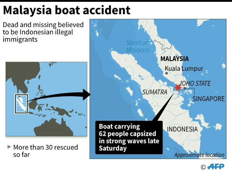 Graphic locating Malaysia's Joho state where a ship carrying 62 people capsized at the weekend