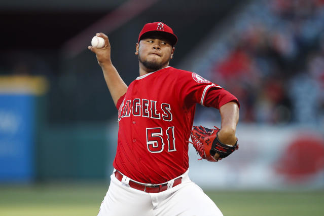 Los Angeles Angels starting pitcher Jaime Barria throws to a Houston Astros batter during the first inning of a baseball game Tuesday, May 15, 2018, in Anaheim, Calif. (AP Photo/Jae C. Hong)
