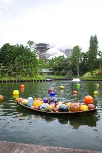 Chihuly Studio's 'Float Boat & Boats' at the Dragonfly Lake. Photo: Coconuts