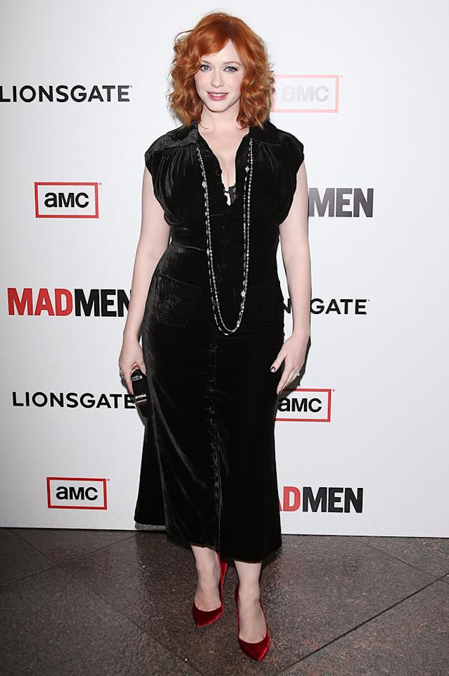 "Christina Hendricks arrives at the Premiere of AMC's ""Mad Men"" Season 6 at DGA Theater on March 20, 2013 in Los Angeles, California."