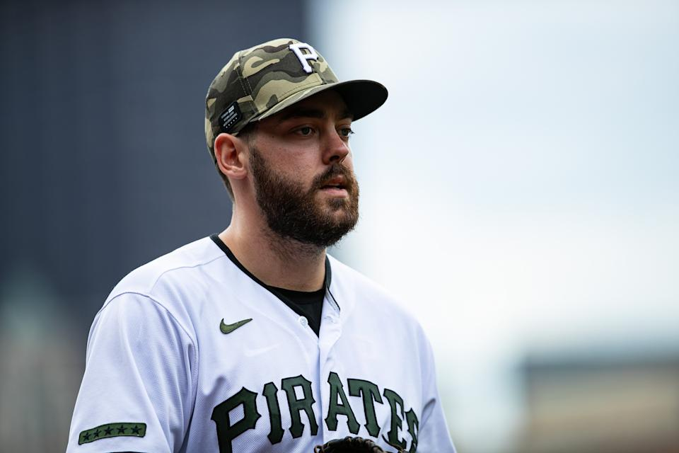 May 16, 2021; Pittsburgh, Pennsylvania, USA; Pittsburgh Pirates first baseman Will Craig (38) looks on before the game against the San Francisco Giants at PNC Park. Mandatory Credit: Mark Alberti-USA TODAY Sports