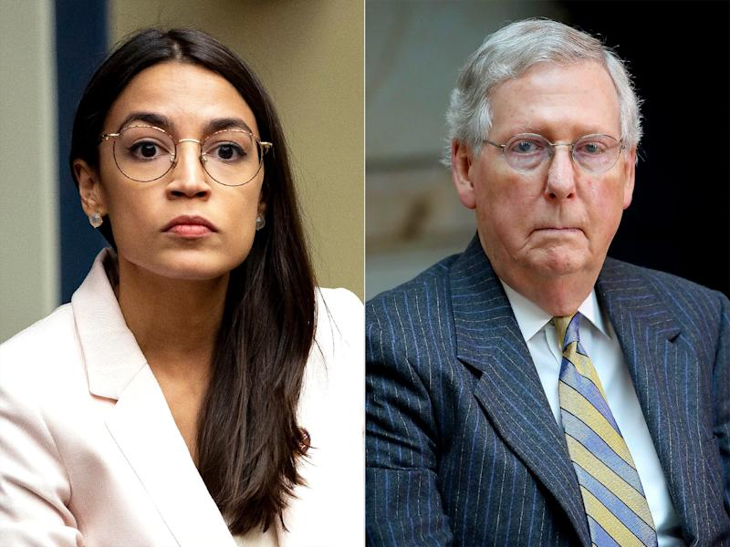 AOC Slams Mitch McConnell After Teens in 'Team Mitch' Shirts Are Pictured Choking Cutout of Her