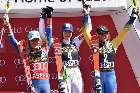 Mar 18, 2017; Aspen, CO, USA; Mikaela Shiffrin of the United States. Petra Vlhova of Slovakia and Frida Hansdotter of Sweden after the women's slalom alpine skiing race in the 2017 Audi FIS World Cup Finals at Aspen Mountain. Mandatory Credit: Michael Madrid-USA TODAY Sports