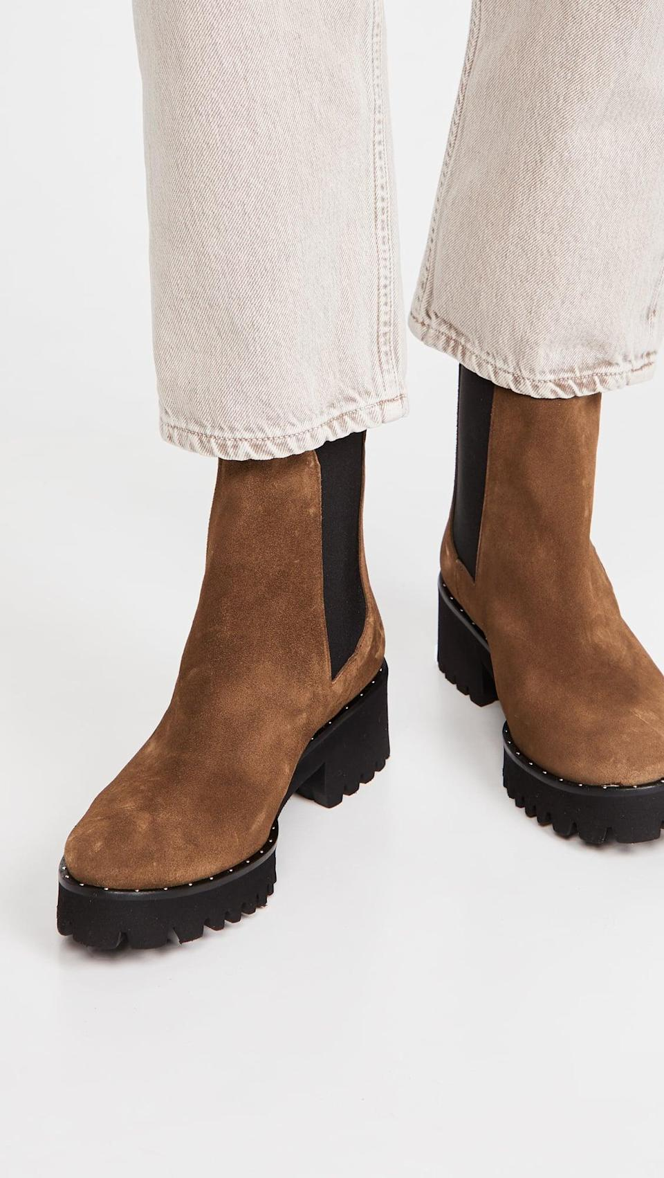 <p>The brown shade of these <span>Freda Salvador Brooke Waterproof Lug Sole Boots</span> ($460) is just perfect. We love that the sole has a little mini heel too.</p>