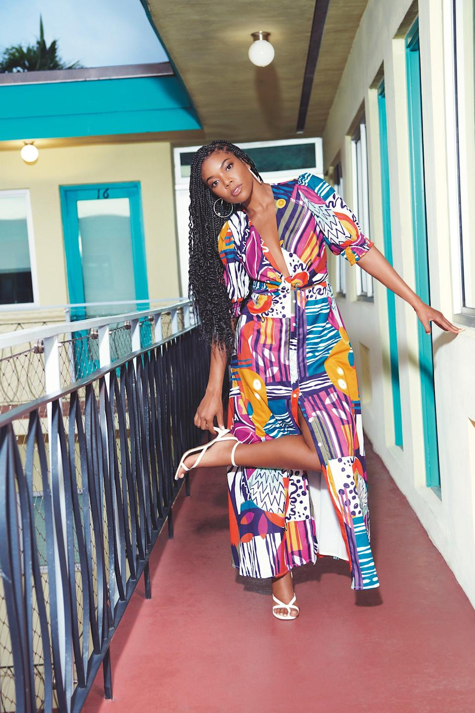 """<br> <br> <strong>New York & Company x Gabrielle Union</strong> Twist-Front Print Maxi Dress, $, available at <a href=""""https://go.skimresources.com/?id=30283X879131&url=https%3A%2F%2Fwww.nyandcompany.com%2Ftwist-front-print-maxi-dress-gabrielle-union-collection%2FA-prod20620024%2F%3FAn%3D675084437%26prodNo%3D1"""" rel=""""nofollow noopener"""" target=""""_blank"""" data-ylk=""""slk:New York & Company"""" class=""""link rapid-noclick-resp"""">New York & Company</a> <span class=""""copyright"""">Photographed by Nino Muñoz.</span>"""