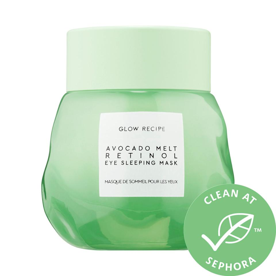 """<p>This <a href=""""https://www.popsugar.com/buy/Glow-Recipe-Avocado-Melt-Retinol-Eye-Sleeping-Mask-497510?p_name=Glow%20Recipe%20Avocado%20Melt%20Retinol%20Eye%20Sleeping%20Mask&retailer=sephora.com&pid=497510&price=42&evar1=bella%3Aus&evar9=45633828&evar98=https%3A%2F%2Fwww.popsugar.com%2Fphoto-gallery%2F45633828%2Fimage%2F46710901%2FGlow-Recipe-Avocado-Melt-Retinol-Eye-Sleeping-Mask&list1=sephora%2Cbeauty%20shopping%2Cbest%20of%202019%2Cskin%20care&prop13=api&pdata=1"""" rel=""""nofollow"""" data-shoppable-link=""""1"""" target=""""_blank"""" class=""""ga-track"""" data-ga-category=""""Related"""" data-ga-label=""""https://www.sephora.com/product/avocado-melt-retinol-eye-sleeping-mask-P447791?icid2=justarrivedskincare_us_skugrid_ufe:p447791:product"""" data-ga-action=""""In-Line Links"""">Glow Recipe Avocado Melt Retinol Eye Sleeping Mask</a> ($42) is everything you could ever want in an eye product; it's vegan and cruelty free, and it combats puffiness and dark circles overnight.</p>"""