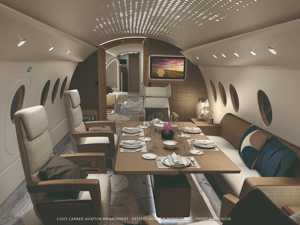 An Airbus A220 private jet concept rendering.
