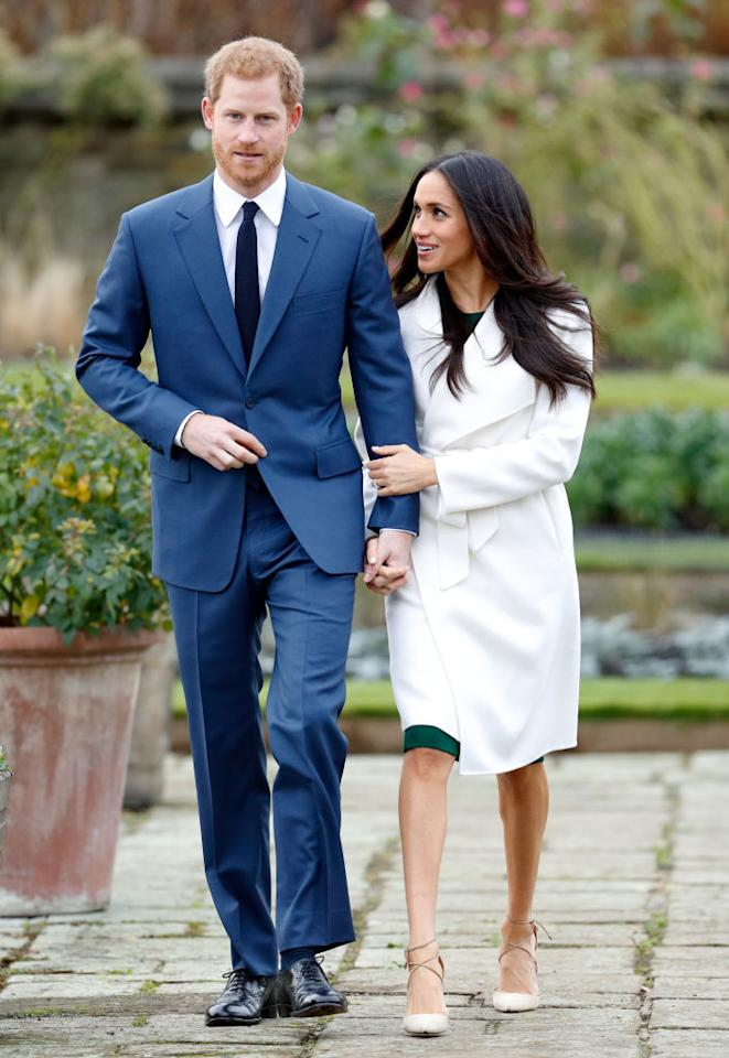 """<p>Meghan Markle, 36, and Prince Harry, 33, announced their engagement on Monday, and although many <a rel=""""nofollow"""" href=""""https://ca.style.yahoo.com/meghan-markles-engagement-ring-pays-slideshow-wp-171650090.html"""">focused on the actresses' gorgeous bauble</a> — a stunning three-diamond engagement ring designed by Harry himself — a few eagle-eyed observers noticed that Markle broke an unwritten royal rule.<br />The 36-year-old looked ultra stylish in a <a rel=""""nofollow"""" href=""""https://ca.style.yahoo.com/meghan-markle-just-wore-canadian-designer-engagement-photos-154549853.html"""">winter white wrap coat from Toronto-based brand 'Line the Label'</a>, but she decided to forgo wearing pantyhose — a fashion faux-pas for members of the royal family. <em>(Photo: Getty)</em> </p>"""