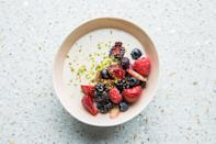 "This fresh, simple summer dessert recipe gets a slight twist with addition of tea. If you're not a fan of Earl Grey, try it with chamomile, matcha, or jasmine. <a href=""https://www.bonappetit.com/recipe/berries-with-tea-infused-cream-and-pistachios?mbid=synd_yahoo_rss"" rel=""nofollow noopener"" target=""_blank"" data-ylk=""slk:See recipe."" class=""link rapid-noclick-resp"">See recipe.</a>"