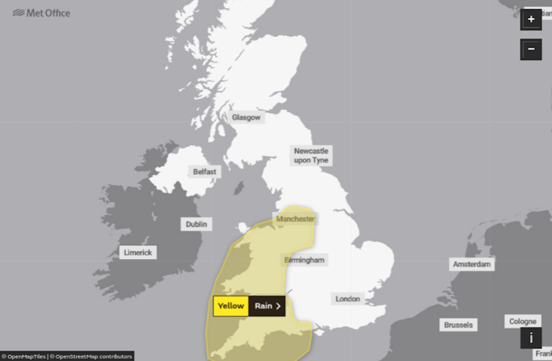 A rain warning is in place for the south west, Wales and parts of the North on Friday (MET OFFICE)