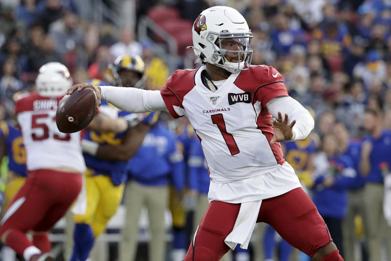 Arizona Cardinals quarterback Kyler Murray passes against the Los Angeles Rams during second half of an NFL football game Sunday, Dec. 29, 2019, in Los Angeles. (AP Photo/Marcio Jose Sanchez)
