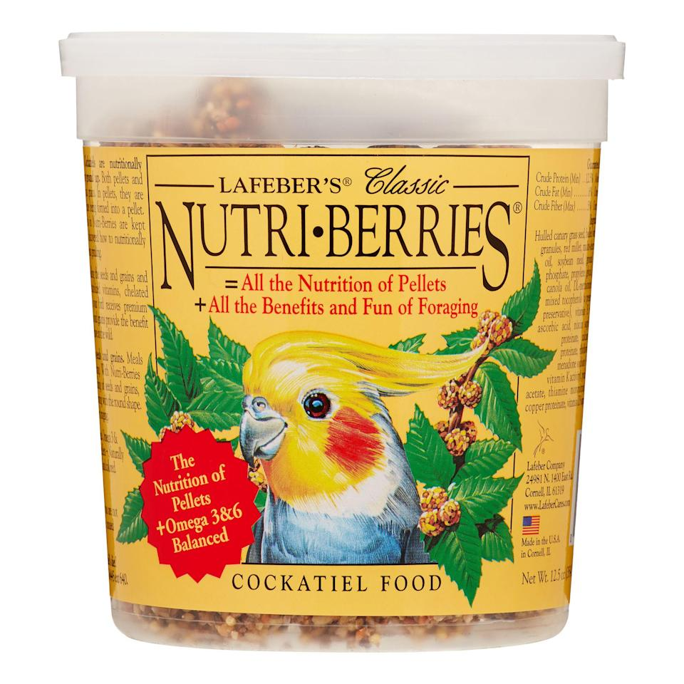 """<h3>Super-Nutritious Bird Food</h3><p>This top-rated food is made from a balanced (and tasty) blend of nutritious whole — ingredients including grains, hulled seeds, stabilized vitamins, chelated minerals, and aminos — that will make your bird sing.</p><br><br><strong>Lafeber</strong> Nutri-Berries Classic Cockatiel Bird Food, $8.39, available at <a href=""""https://www.walmart.com/ip/Lafeber-Nutri-Berries-Classic-Cockatiel-Bird-Food-0-78-Lb/21758150"""" rel=""""nofollow noopener"""" target=""""_blank"""" data-ylk=""""slk:Walmart"""" class=""""link rapid-noclick-resp"""">Walmart</a>"""
