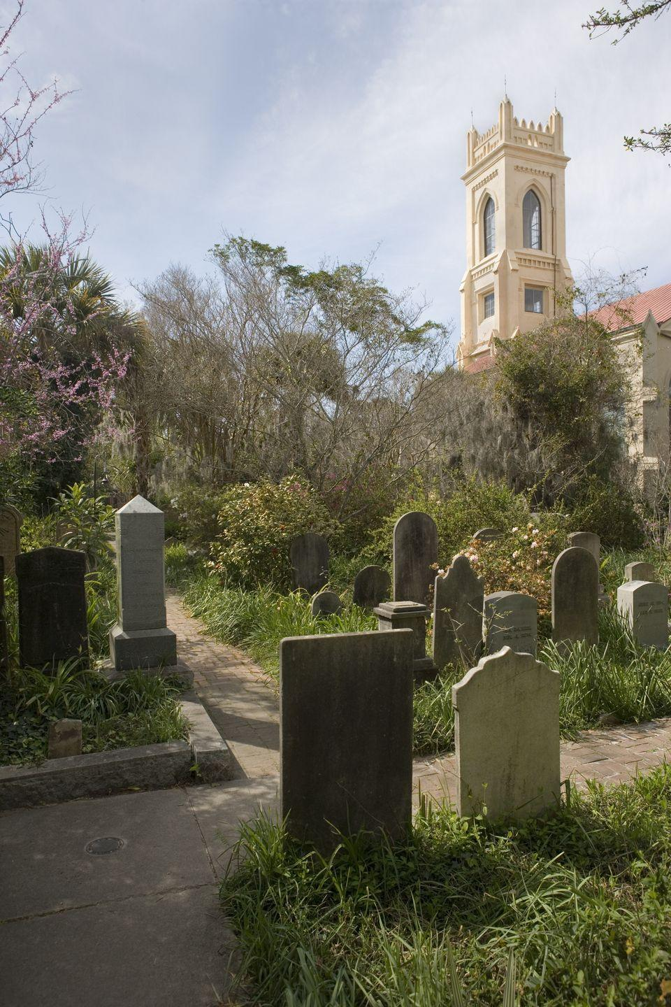"""<p>Take a 90-minute evening stroll through Charleston's notoriously haunted Unitarian Church Graveyard, which is the oldest Unitarian church in the South and known as a hotbed of creepy paranormal activity.</p><p><a class=""""link rapid-noclick-resp"""" href=""""https://go.redirectingat.com?id=74968X1596630&url=https%3A%2F%2Fwww.tripadvisor.com%2FAttractionProductReview-g54171-d11482881-Ghosts_of_Charleston_Night_Time_Walking_Tour_with_Unitarian_Church_Graveyard-Charle.html&sref=https%3A%2F%2Fwww.redbookmag.com%2Flife%2Fg37623207%2Fghost-tours-near-me%2F"""" rel=""""nofollow noopener"""" target=""""_blank"""" data-ylk=""""slk:LEARN MORE"""">LEARN MORE</a></p>"""