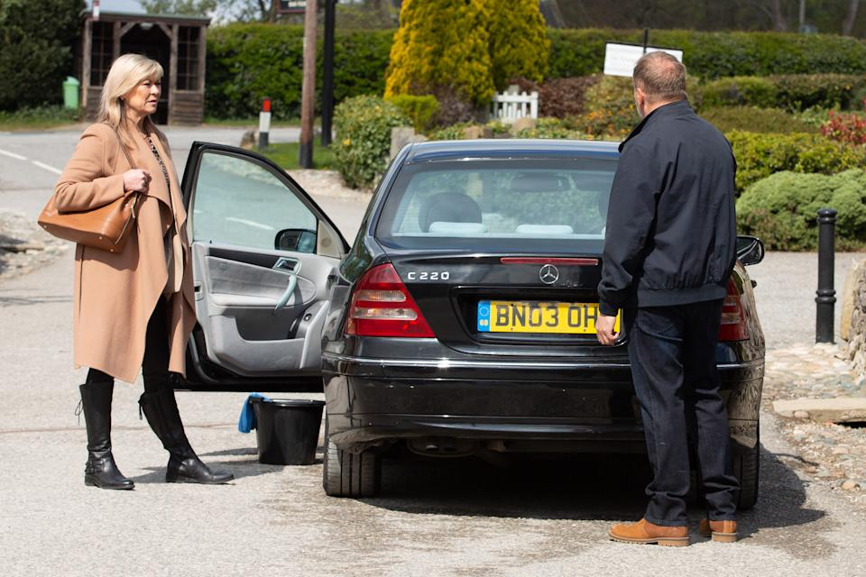 FROM ITV  STRICT EMBARGO  Print media - No Use Before Tuesday 15th June 2021 Online Media - No Use Before 0700hrs  Tuesday 15th June 2021  Emmerdale - Ep 907879  Monday 21st June 2021  Kim Tate [CLAIRE KING] asks Will Taylor [DEAN ANDREWS] why he has diazepam, and he's wary, refusing to answer the question. Kim presses the point, and he tells her the diazepam's for his nerves but she's not buying his explanation.   Picture contact David.crook@itv.com   This photograph is (C) ITV Plc and can only be reproduced for editorial purposes directly in connection with the programme or event mentioned above, or ITV plc. Once made available by ITV plc Picture Desk, this photograph can be reproduced once only up until the transmission [TX] date and no reproduction fee will be charged. Any subsequent usage may incur a fee. This photograph must not be manipulated [excluding basic cropping] in a manner which alters the visual appearance of the person photographed deemed detrimental or inappropriate by ITV plc Picture Desk. This photograph must not be syndicated to any other company, publication or website, or permanently archived, without the express written permission of ITV Picture Desk. Full Terms and conditions are available on  www.itv.com/presscentre/itvpictures/terms