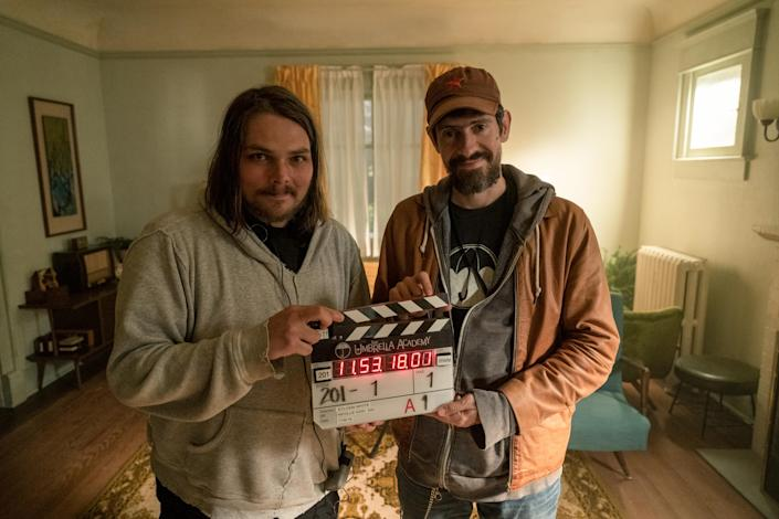 (L to R) Gerard Way and Gabriel Bá filming episode 201 of The Umbrella Academy