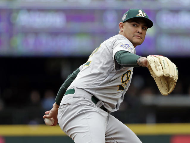 Oakland Athletics starting pitcher Sean Manaea throws against the Seattle Mariners in the second inning during a baseball game Sunday, April 15, 2018, in Seattle. (AP Photo/Elaine Thompson)