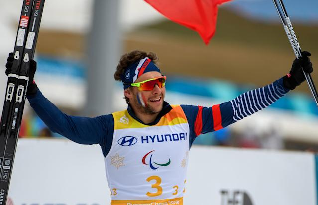Benjamin Daviet of France celebrates after France won the Cross Country Skiing 4x2.5km Open Relay at the Alpensia Biathlon Centre. The Paralympic Winter Games, PyeongChang, South Korea, Sunday 18th March 2018. OIS/IOC/Thomas Lovelock/Handout via Reuters