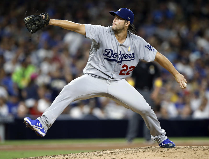 Dodgers starting pitcher Clayton Kershaw throws during the fifth inning of a baseball game against the Padres in San Diego. (AP)