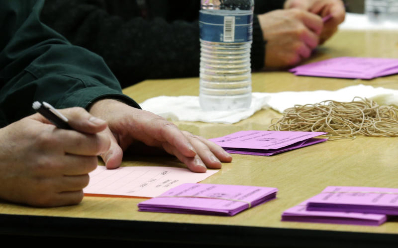 A volunteer vote counter tallies ballots Friday, Jan. 3, 2014, at the Boeing Machinists union hall in Seattle. Workers were voting on the Boeing Co.'s latest contract offer to keep the assembly of the Being 777X airplane in Washington state. (AP Photo/Ted S. Warren)
