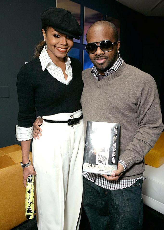 "Janet Jackson joins her other Jermaine, record producer boyfriend Jermaine Dupri, at his Brett Ratner-hosted book party in West Hollywood, CA. Todd Williamson/<a href=""http://www.wireimage.com"" target=""new"">WireImage.com</a> - October 24, 2007"