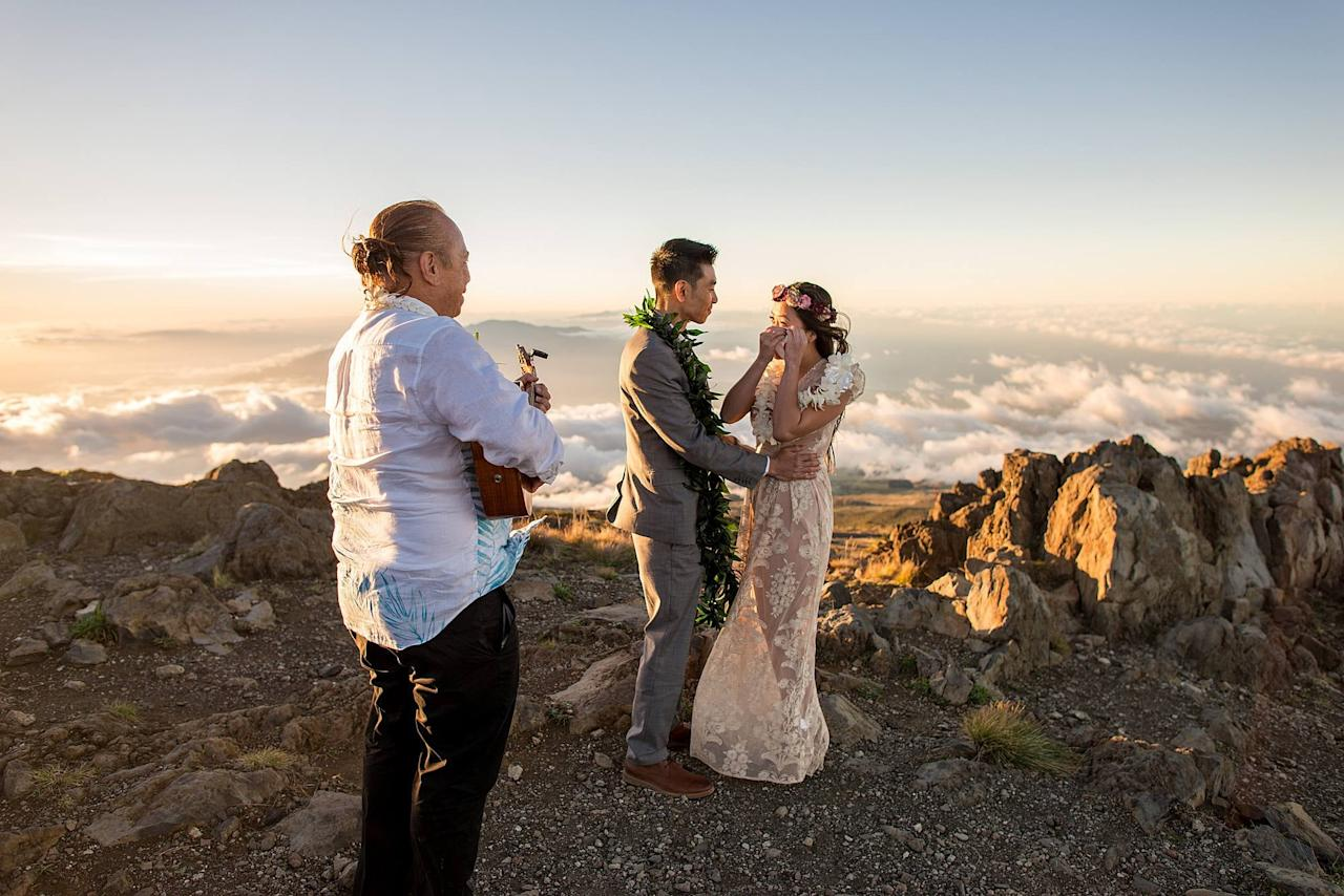 "<p>Nobody knew about Michael and Khim's breathtaking Maui, HI, elopement besides the couple, the minister, and their photographer, Angela. <a href=""https://www.popsugar.com/love/Maui-Volcano-Elopement-43977016"" class=""ga-track"" data-ga-category=""Related"" data-ga-label=""https://www.popsugar.com/love/Maui-Volcano-Elopement-43977016"" data-ga-action=""In-Line Links"">See the wedding here!</a></p>"