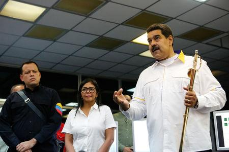 Venezuela's President Nicolas Maduro speaks during his visit to the Hydroelectric Generation System on the Caroni River, near Ciudad Guayana, Bolivar State, Venezuela March 16, 2019.  Miraflores Palace/Handout via REUTERS