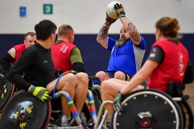 Competitors from the UK's Invictus Games team pictured training. Jacob King/PA Wire