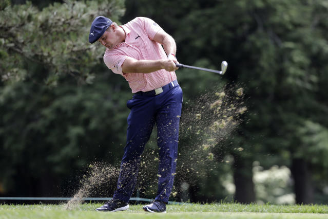 Bryson DeChambeau tees off on the fifth hole during the final round of the Travelers Championship golf tournament at TPC River Highlands, Sunday, June 28, 2020, in Cromwell, Conn. (AP Photo/Frank Franklin II)