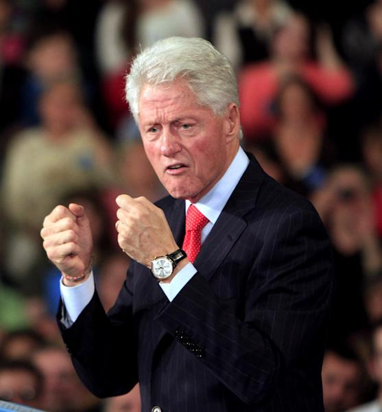 Former President Bill Clinton speaks during a campaign stop for President Barack Obama at the University of New Hampshire, Wednesday, Oct. 3, 2012 in Durham, N.H. (AP Photo/Jim Cole)