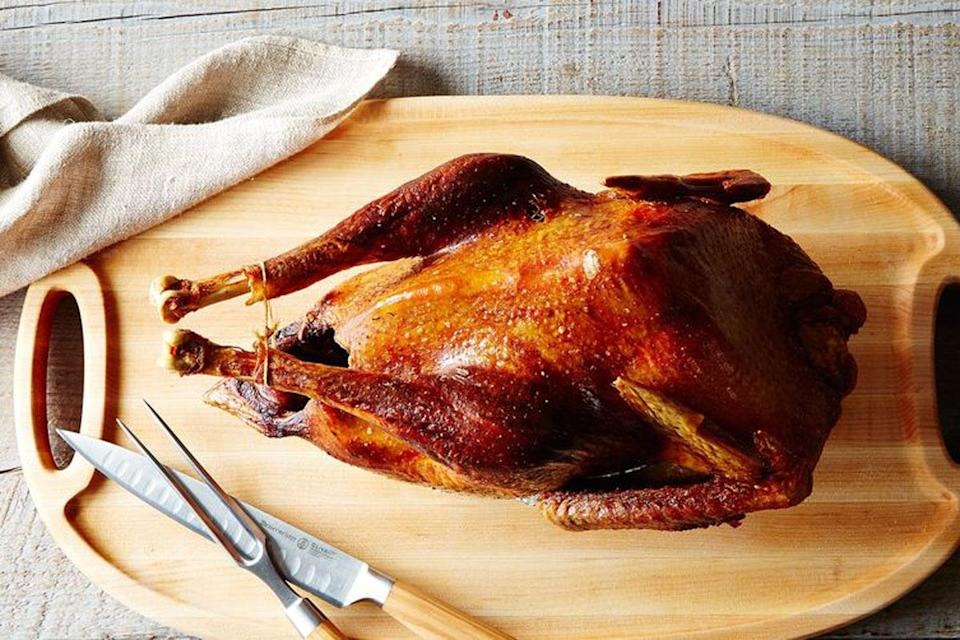 """<p>The technique L.A. Times food editor Ross Parsons uses was inspired by the late Judy Rodgers, the beloved chef at San Francisco's Zuni Café who dry brined her famous roast chicken. Parsons uses a salt rub that can be spiked with anything from smoked paprika to bay leaf and thyme. <a href=""""https://food52.com/recipes/15069-russ-parsons-dry-brined-turkey-a-k-a-the-judy-bird"""" rel=""""nofollow noopener"""" target=""""_blank"""" data-ylk=""""slk:Learn how to make The Judy Bird at Food52."""" class=""""link rapid-noclick-resp""""><b>Learn how to make The Judy Bird at Food52</b>.</a> <i>Photo: James Ransom/Food52</i><br></p>"""