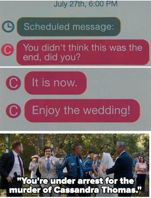 """Ryan receiving pre scheduled messages from Cassie and Al getting arrested at his wedding reception on """"Promising Young Woman"""""""