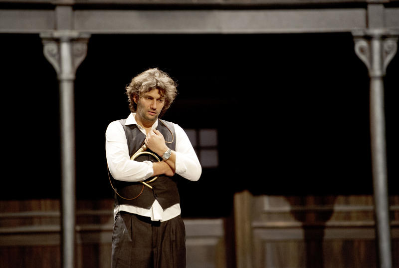 "In this undated photo provided by Alla Scala theater press office, Jonas Kaufmann, who plays Lohengrin, performs during rehersals of Richard Wagner's Lohengrin at the Milan La Scala opera house, Italy. The dual bicentennial of the births of composers Giuseppe Verdi and Richard Wagner is turning into a dueling bicentennial. La Scala general manager Stephane Lissner on Monday, Dec. 3, 2012 dismissed as ""ridiculous"" criticism by the Italian media because the famed Milan opera house that was once Verdi's musical home is opening the celebratory season with Wagner's ""Lohengrin."" No less than Italy's respected President Giorgio Napolitano entered the fray. He wrote a letter to musical director Daniel Barenboim rejecting press rumors that he was snubbing the gala season opener on Friday. (AP Photo/Monika Rittershaus, La Scala)"