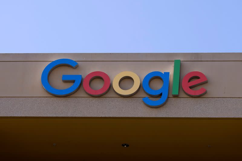 The Google sign is shown on one of the company's office buildings in Irvine, California
