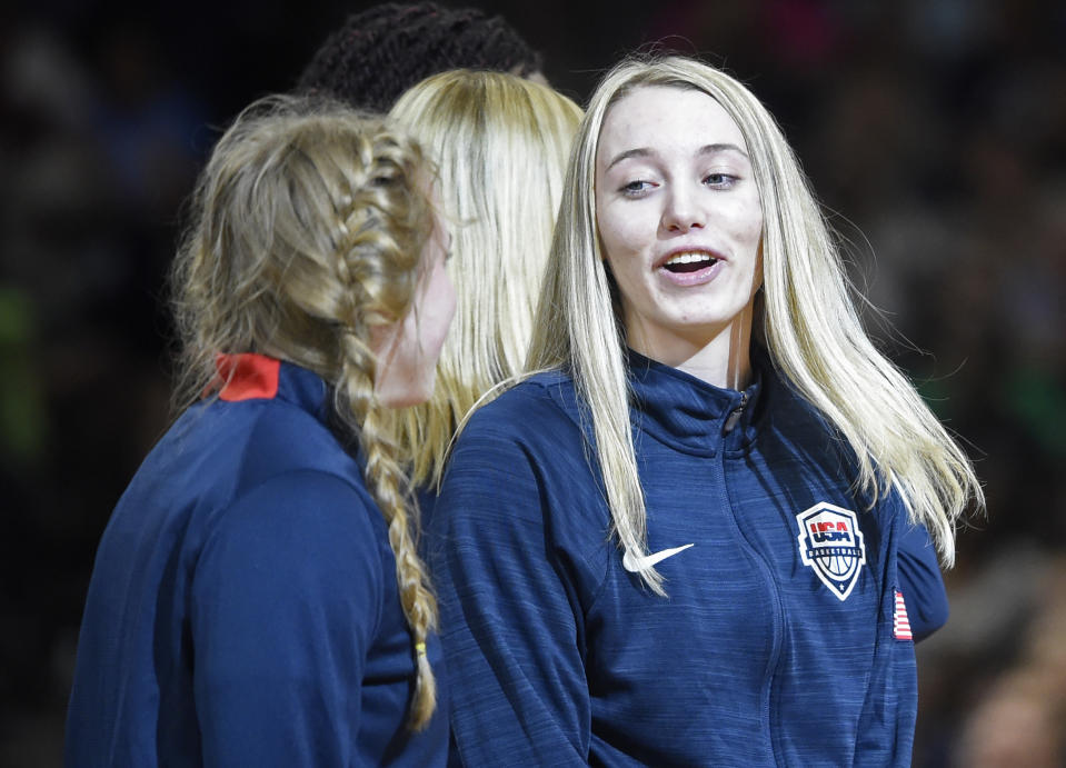 Paige Bueckers in a Team USA jacket.