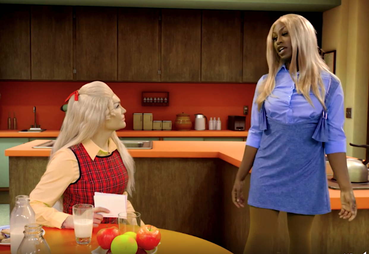 Kylie Sonique Love and Shea Couleé as Jan and Marica Brady on 'Dragging the Classics: The Brady Bunch.' (Photo: Paramount+)