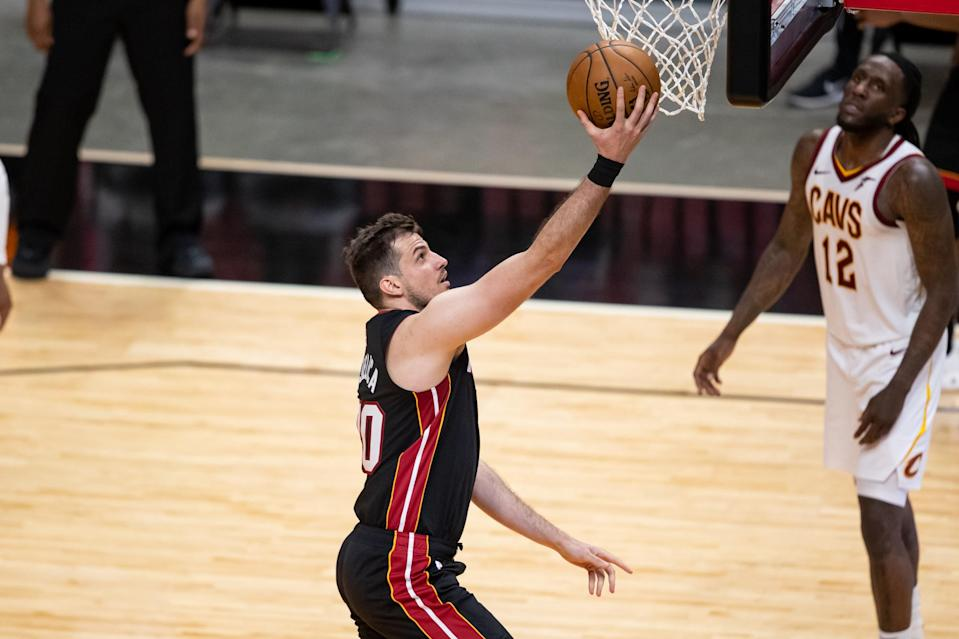 Apr 3, 2021; Miami, Florida, USA; Miami Heat forward Nemanja Bjelica (70) attempts a layup during the fourth quarter of a game against the Cleveland Cavaliers at American Airlines Arena.