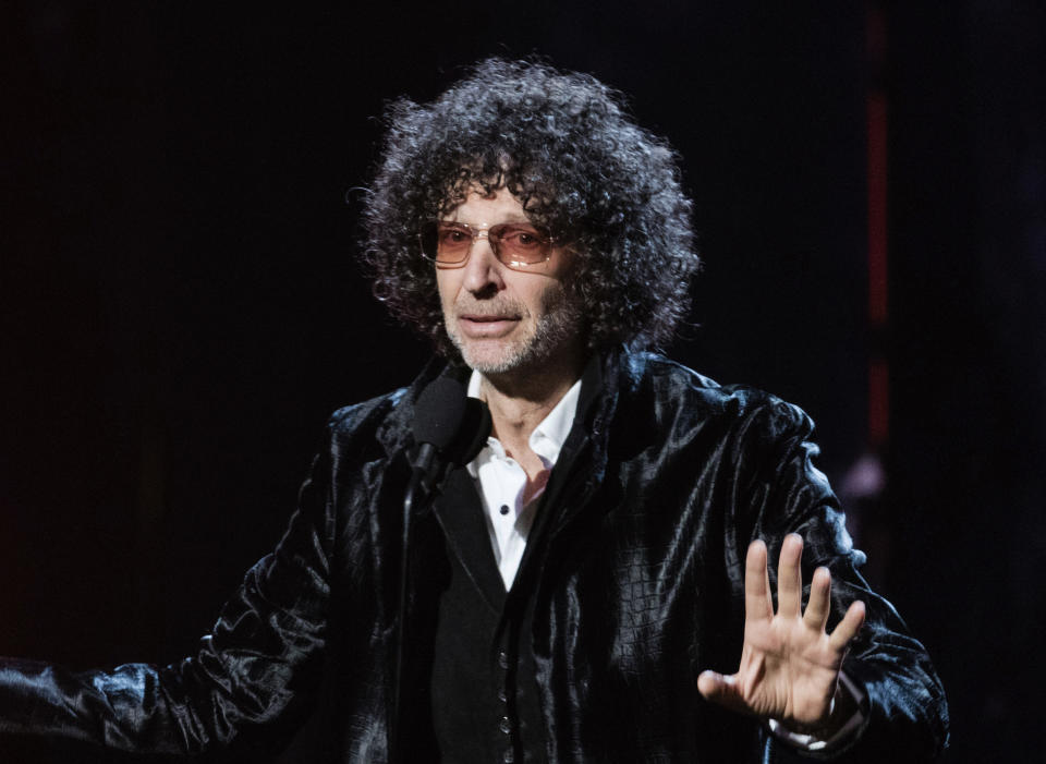 """FILE - In this April 14, 2018 file photo, Howard Stern speaks at the 2018 Rock and Roll Hall of Fame Induction Ceremony in Cleveland. The shock jock's """"Howard Stern Comes Again"""" will be published May 14, Simon & Schuster announced Tuesday. It's his first book in more than 20 years, and was No. 1 on Amazon.com within hours of its announcement. Stern's previous books, """"Private Parts"""" and """"Miss America,"""" both spent months on The New York Times' bestseller list. (Photo by Michael Zorn/Invision/AP, File)"""
