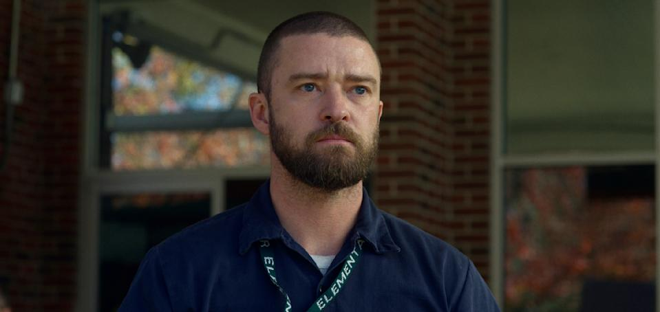 "This image released by Apple shows Justin Timberlake in a scene from ""Palmer."" (Apple via AP)"