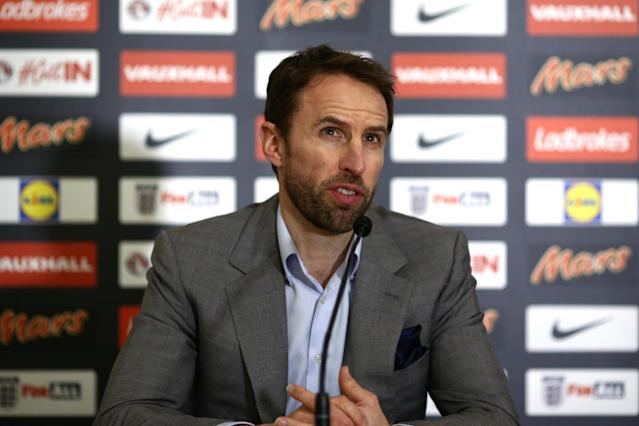 Southgate addresses the media after naming his first squad as permanent England manager: Getty Images