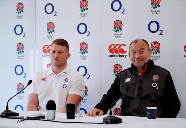 Rugby Union - England Press Conference - Pennyhill Park, Bagshot, Britain - February 22, 2018 England head coach Eddie Jones with Dylan Hartley during the press conference Action Images via Reuters/Andrew Boyers