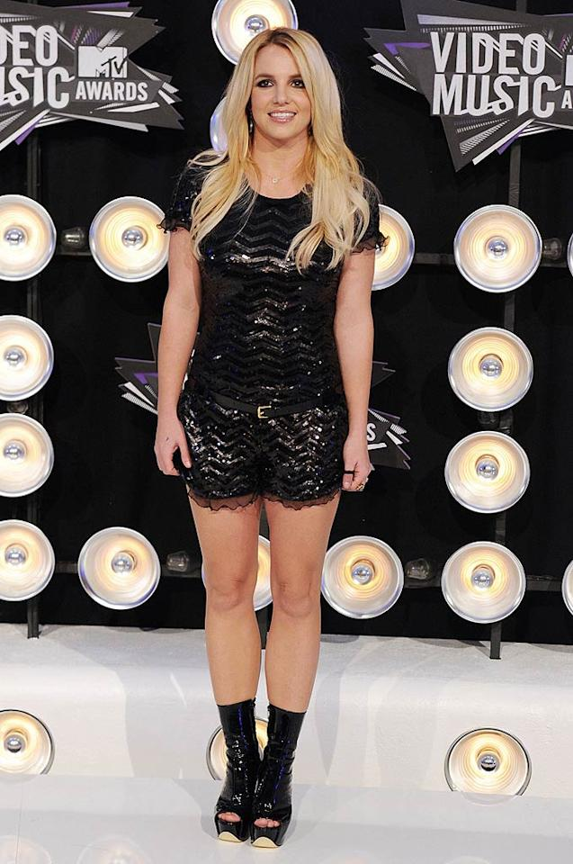 """Britney Spears -- who won Best Pop Video for """"Till the World Ends"""" -- looked better than she has in years thanks to her perfectly highlighted locks and sequined Moschino dress. However, we're on the fence about her futuristic, patent leather platforms. Are they fab ... or fug? Steve Granitz/<a href=""""http://www.wireimage.com"""" target=""""new"""">WireImage.com</a> - August 28, 2011"""