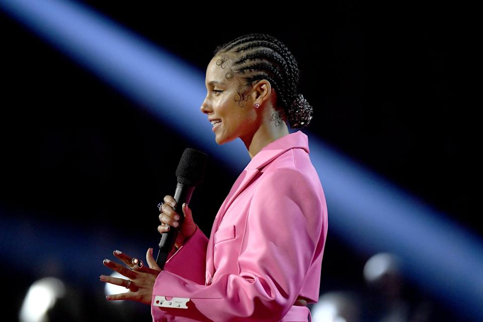 LOS ANGELES, CALIFORNIA - JANUARY 26: Host Alicia Keys speaks onstage during the 62nd Annual GRAMMY Awards at Staples Center on January 26, 2020 in Los Angeles, California. (Photo by Kevork Djansezian/Getty Images)