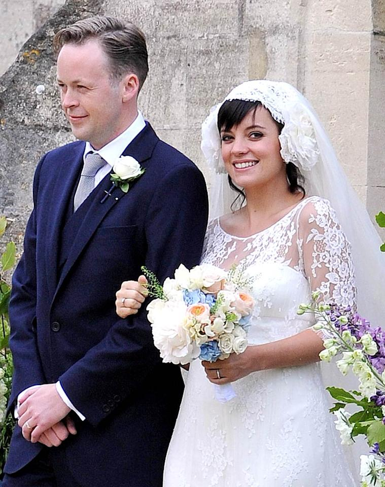 Lily Allen was all smiles as she married Sam Cooper in Gloucestershire, England, on June 11. As if their union wasn't enough good news, the British singer also announced that she was expecting a baby! The happy couple welcomed their baby girl on November 25. (06/11/2011)